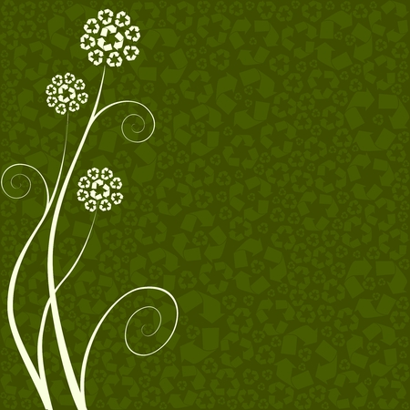 Conceptual illustration of flowers made out of recycling symbols. Graphics are grouped and in several layers for easy editing. The file can be scaled to any size. Vector