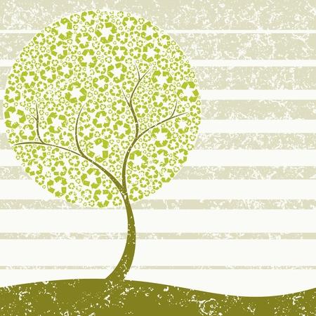 Grungy Conceptual illustration d'un arbre symbole de recyclage de feuilles. Les graphiques sont regroupés en plusieurs couches pour faciliter le montage. Le fichier peut être adapté à n'importe quelle taille. Banque d'images - 4940810
