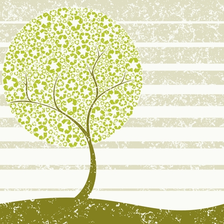 Grungy Conceptual illustration of a tree with recycling symbol leaves. Graphics are grouped and in several layers for easy editing. The file can be scaled to any size. Ilustração