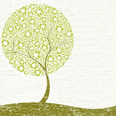 Grungy Conceptual illustration of a tree with recycling symbol leaves. Graphics are grouped and in several layers for easy editing. The file can be scaled to any size. Stock Vector - 4940804
