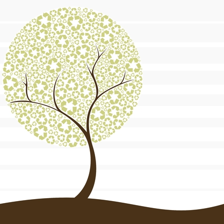 recycling: Conceptual illustration of a tree with recycling symbol leaves. Graphics are grouped and in several layers for easy editing. The file can be scaled to any size.