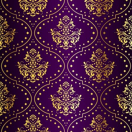 インドの生地に触発金属ダマスク織パターンを持つスタイリッシュなベクトルの背景。タイルをシームレスに結合できます。グラフィックをグルー