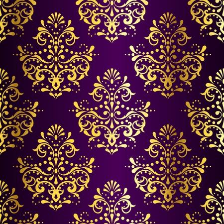 stijlvolle vector achtergrond met een metalen damast patroon geïnspireerd door Indiase stoffen. De tegels kunnen worden gecombineerd naadloos. Graphics zijn gegroepeerd en in verschillende lagen voor eenvoudige bewerking. Het bestand kan worden geschaald naar elke grootte.