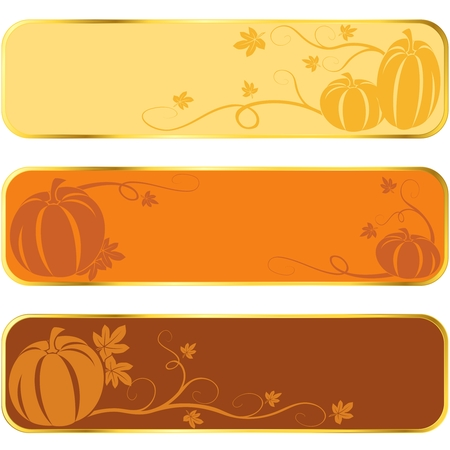 Three seasonal banners of pumpkins, with gold rim.  Graphics are grouped and in several layers for easy editing. The file can be scaled to any size. Vector
