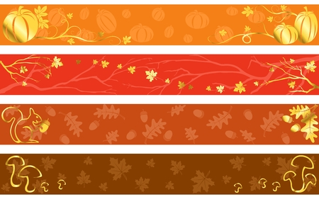 Four seasonal banners in reddish hues with gold details.  �Full Banner� Format. Graphics are grouped and in several layers for easy editing. The file can be scaled to any size. Vector