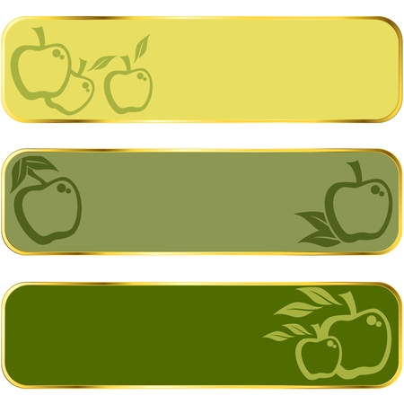 Three seasonal banners of apples, with gold rim.  Graphics are grouped and in several layers for easy editing. The file can be scaled to any size. Stock Vector - 5078868