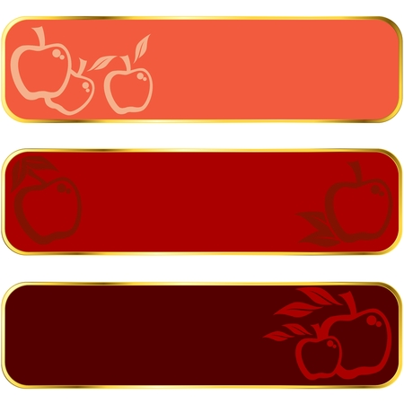 Three seasonal banners of apples, with gold rim.  Graphics are grouped and in several layers for easy editing. The file can be scaled to any size. Vector