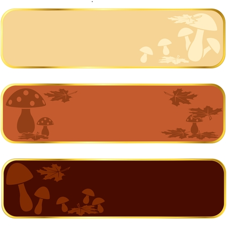Three seasonal banners of mushrooms, with gold rim.  Graphics are grouped and in several layers for easy editing. The file can be scaled to any size. Vector