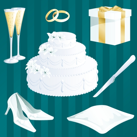 Collection of wedding themed items. Graphics are grouped and in several layers for easy editing. The file can be scaled to any size. Illustration