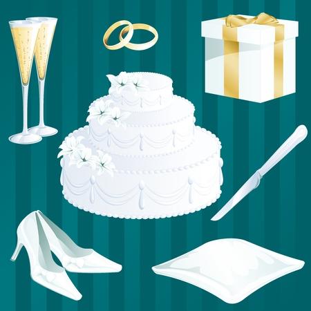 Sammlung der Hochzeit thematische Artikel. Grafiken sind und in mehreren Schichten für die einfache Bearbeitung. Die Datei kann zu jeder Grösse. Standard-Bild - 5116814