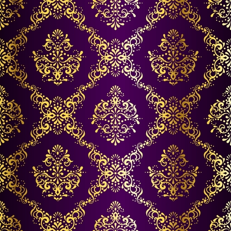 stylish vector background with a metallic damask pattern inspired by Indian fabrics. The tiles can be combined seamlessly. Graphics are grouped and in several layers for easy editing. The file can be scaled to any size.