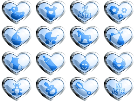 bundle of letters: 16 glossy heart-shaped boy themed buttons. Graphics are grouped and in several layers for easy editing. The file can be scaled to any size. Illustration