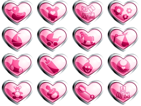 16 glossy heart-shaped girl themed buttons. Graphics are grouped and in several layers for easy editing. The file can be scaled to any size. Vector