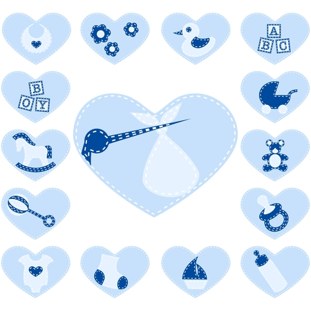 15 Adorable boy buttons that look like quilt patches. Graphics are grouped and in several layers for easy editing. The file can be scaled to any size. Stock Vector - 5153656