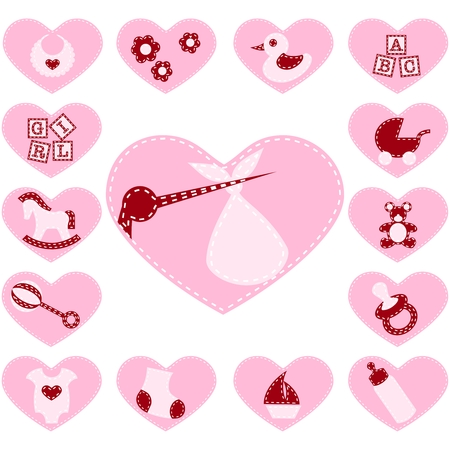bundle of letters: 15 Adorable girl buttons that look like quilt patches. Graphics are grouped and in several layers for easy editing. The file can be scaled to any size. Illustration