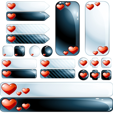 Set of 22 glossy design elements with an embedded heart. Graphics are grouped and in several layers for easy editing. The file can be scaled to any size. Vector