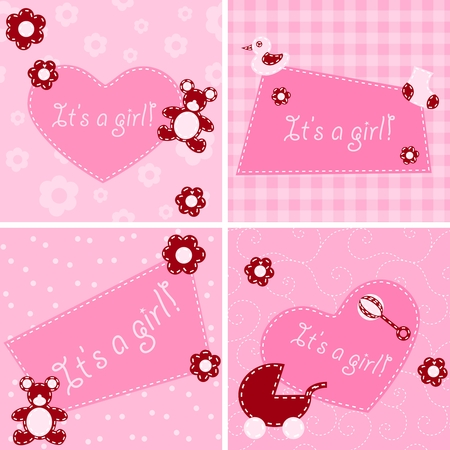 Four designs for birth announcement cards, -showers etc. Graphics are grouped and in several layers for easy editing. The file can be scaled to any size. Vector