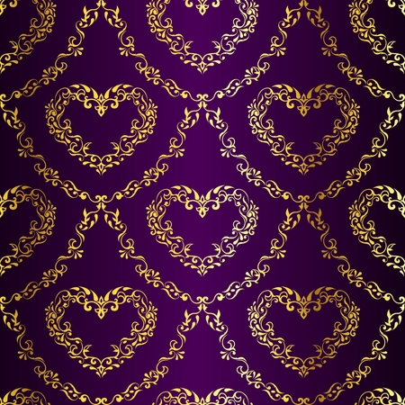 stylish vector background with a metallic heart pattern inspired by Indian fabrics. The tiles can be combined seamlessly. Graphics are grouped and in several layers for easy editing. The file can be scaled to any size. Illusztráció
