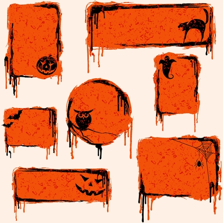 horror: 7 orange, grungy banners and buttons with a halloween theme. Graphics are grouped and in several layers for easy editing. The file can be scaled to any size.