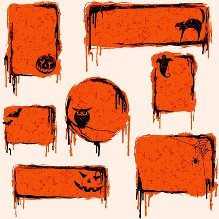 7 oranje, grungy banners en buttons met een Halloween thema. Graphics zijn gegroepeerd en in verschillende lagen voor eenvoudige bewerking. Het bestand kan worden geschaald naar elke grootte.