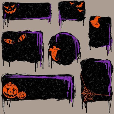 7 black, grungy banners and buttons with a halloween theme. Graphics are grouped and in several layers for easy editing. The file can be scaled to any size. Vector