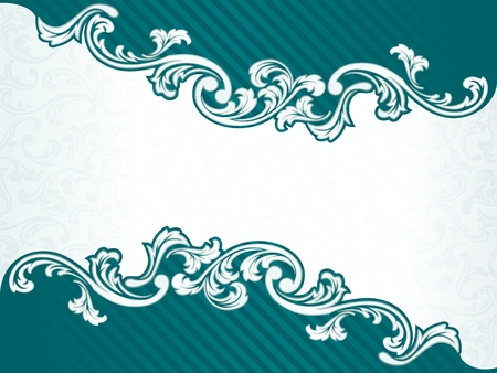 any size: Elegant green Banner design inspired by French rococo style. Graphics are grouped and in several layers for easy editing. The file can be scaled to any size.
