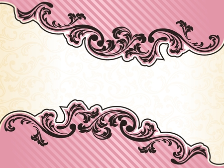 Elegant pink Banner design inspired by French rococo style. Graphics are grouped and in several layers for easy editing. The file can be scaled to any size. Vector