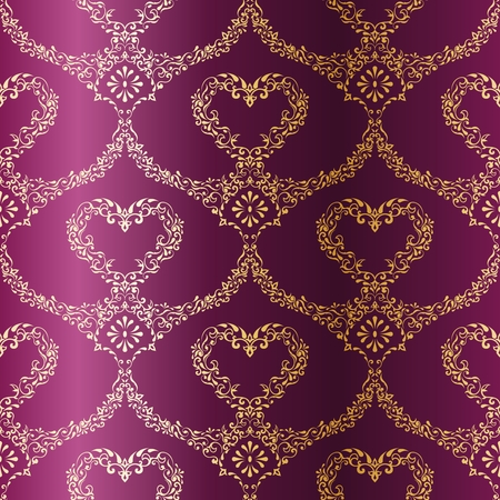 stylish vector background with a metallic heart pattern inspired by Indian fabrics. The tiles can be combined seamlessly. Graphics are grouped and in several layers for easy editing. The file can be scaled to any size. Illustration