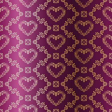 brocade: stylish vector background with a metallic heart pattern inspired by Indian fabrics. The tiles can be combined seamlessly. Graphics are grouped and in several layers for easy editing. The file can be scaled to any size. Illustration
