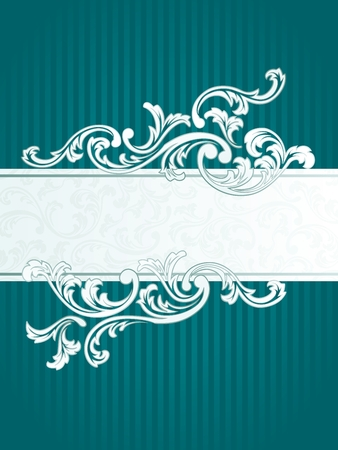 Elegant turquoise Banner design inspired by French rococo style. Graphics are grouped and in several layers for easy editing. The file can be scaled to any size.