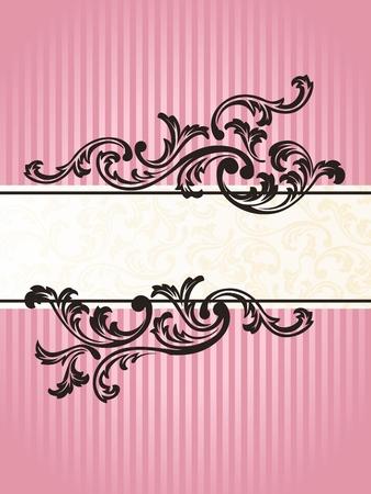 Banner romántica rosa diseño inspirado en el estilo rococó francés. Gráficos y se agrupan en varias capas para editar fácilmente. El archivo puede hacerse a escala en cualquier tamaño. Foto de archivo - 5340365