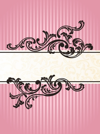 baroque border: Romantic pink Banner design inspired by French rococo style. Graphics are grouped and in several layers for easy editing. The file can be scaled to any size.