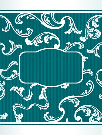 teal: Elegant turquoise floral label inspired by French design. Graphics are grouped and in several layers for easy editing. The file can be scaled to any size.