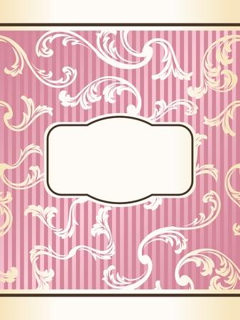 french label: Rom�ntico etiqueta floral rosa inspirada en el dise�o franc�s. Gr�ficos y se agrupan en varias capas para editar f�cilmente. El archivo puede hacerse a escala en cualquier tama�o.