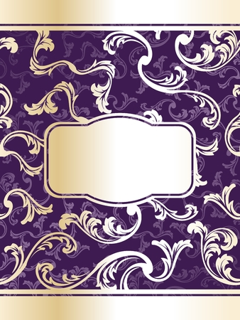 Elegant gold and purple floral label inspired by bottle labels. Graphics are grouped and in several layers for easy editing. The file can be scaled to any size. Stock Vector - 5340368