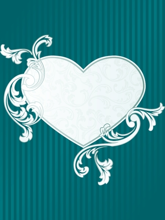 Elegant heart-shaped green frame design Vector
