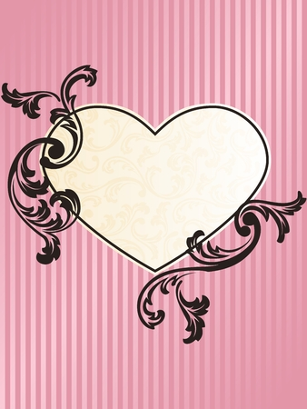 Elegant heart-shaped pink frame design Vector