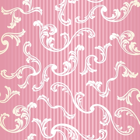Pink and gold stylish vector background with a metallic swirl pattern
