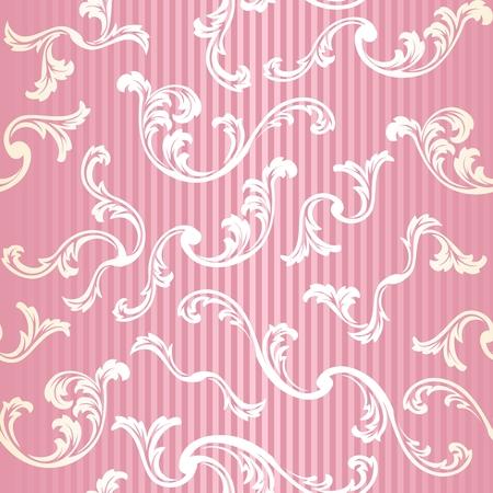 Roze en goud stijlvolle vector achtergrond met een metalen swirl patroon
