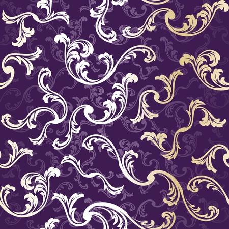 金属の渦巻き模様のパターンと紫と金色のスタイリッシュなベクトルの背景