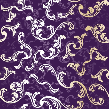purple pattern: Purple and gold stylish vector background with a metallic swirl  pattern