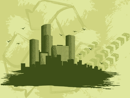 Grungy environmental background of a �green city�. Graphics are grouped and in several layers for easy editing. The file can be scaled to any size. Vector