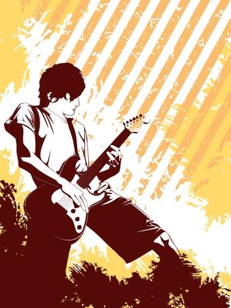Oranje muziek achtergrond met een gitarist. Graphics zijn gegroepeerd en in meerdere lagen voor eenvoudige bewerking. Het bestand kan worden geschaald naar elke grootte.