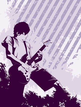 Purple music background with a guitarist. Graphics are grouped and in several layers for easy editing. The file can be scaled to any size. Vector