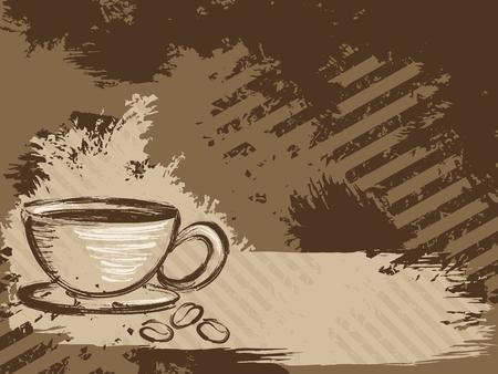 merken: Grunge stijl achtergrond met een kopje koffie en wat bonen. Graphics zijn gegroepeerd en in meerdere lagen voor eenvoudige bewerking. Het bestand kan worden geschaald naar elke grootte. Stock Illustratie