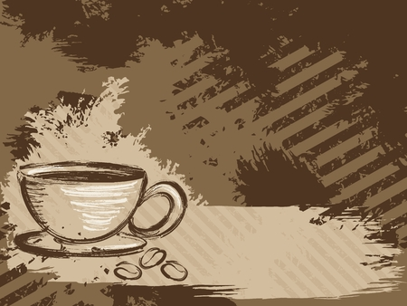 scaled: Grunge style background with a cup of coffee and some beans. Graphics are grouped and in several layers for easy editing. The file can be scaled to any size.
