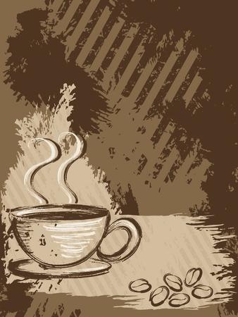 그런 지 스타일 배경 커피 한잔과 콩. 그래픽 쉽게 편집 할 수 있도록 여러 레이어에 그룹화됩니다. 파일은 어떤 크기로도 확장 할 수 있습니다.