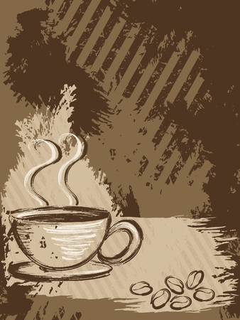 Grunge style background with a cup of coffee and some beans. Graphics are grouped and in several layers for easy editing. The file can be scaled to any size. Vector