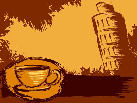 Grungy coffee background with the leaning tower of Pisa. Graphics are grouped and in several layers for easy editing. The file can be scaled to any size. Vector