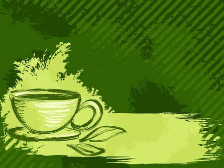 Grunge style background with a cup of tea and tea leaves. Vector